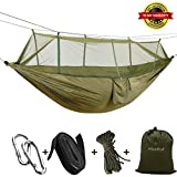 Meetest Camping Hammock with Mosquito Net can Withstand 440 LBS,Parachute Fabric Outdoor Portable Travel Double Bed Lightweight Fabric for Indoor,Camping,Hiking,Backpacking,Backyard,Beach 2018 New