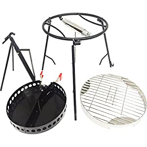 CampMaid 4 Piece Combo Lid holder, Charcoal Holder, Flip Grill and Kick Stand, Perfect for Outdoor Adventures Family Friends