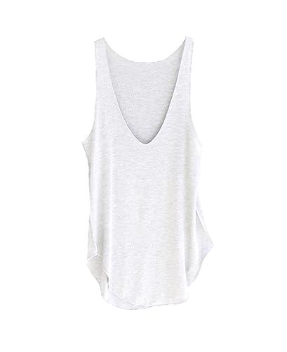 Mine tom Mujer Chicas Verano Camisetas Sin Mangas V-Cuello Gilet Casual Sin Mangas Camiseta