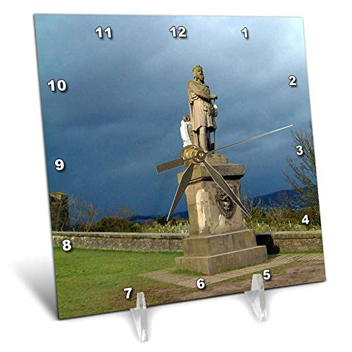3dRose Jos Fauxtographee- Scotland Robert The Bruce - Rober The Bruce on The gorunds of The Stirling Castle - 6x6 Desk Clock (dc_292384_1) ()