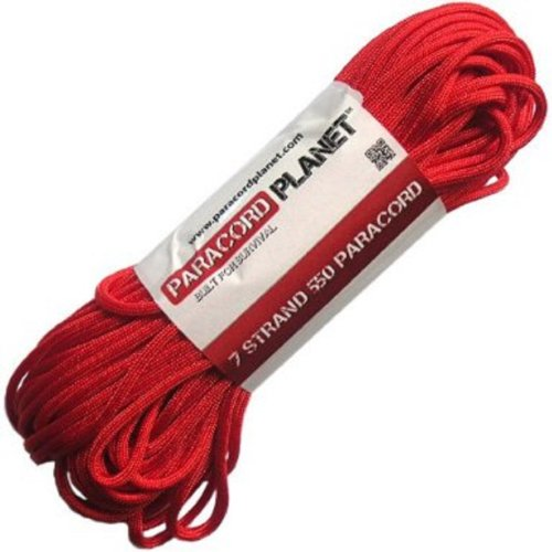 (Paracord Planet 50' 550lb Type III Scarlet Red)