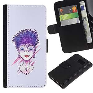 Protector de cuero de la PU de la cubierta del estilo de la carpeta del tirón BY RAYDREAMMM - Samsung Galaxy S6 - Púrpura pelo de la mujer