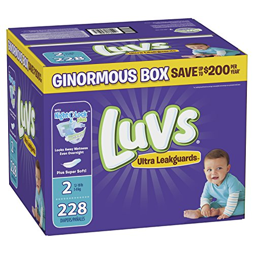 Luvs Ultra Leakguards Disposable Diapers, Size 2, 228 Count, ONE Month Supply