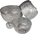 Ni_On Aluminum water bowl Thai design silver sterling serving Set Diameter 10.5'', 9'' , 6.5'' , 3''