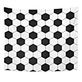 VaryHome Tapestry Football Black and White Hexagon Soccer Ball Geo Line Home Decor Wall Hanging for Living Room Bedroom Dorm 50x60 Inches
