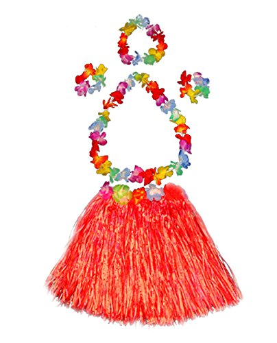 Girl's elastic Hawaiian hula dancer grass skirt with flower costume set-red (Hawaiian Party Dress)
