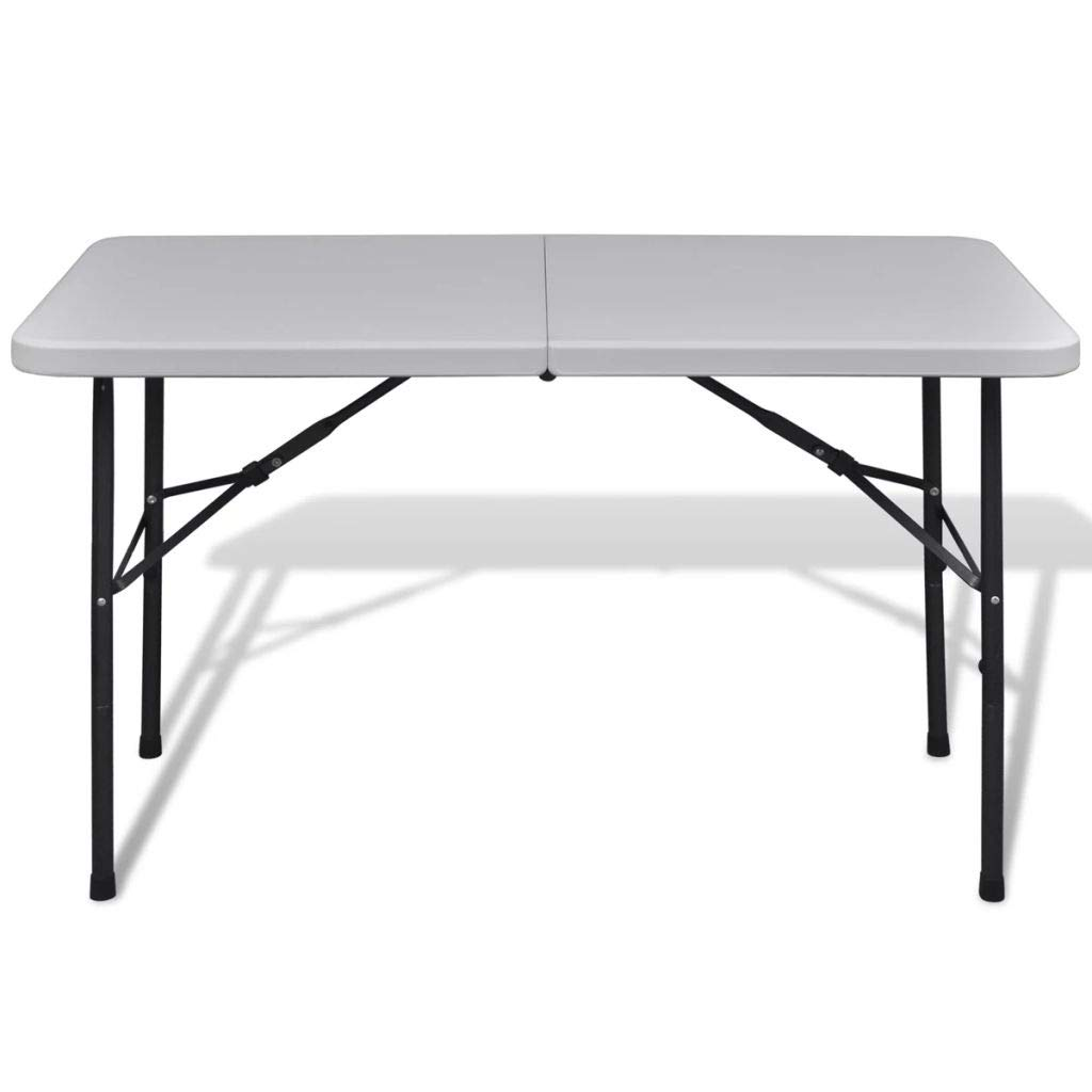 Festnight 4 Folding Camping Table Portable Indoor Outdoor Height Adjustable Dining Table with Steel Frame and Carrying Handle for Picnic Party Kitchen Dining Cookout Camping White