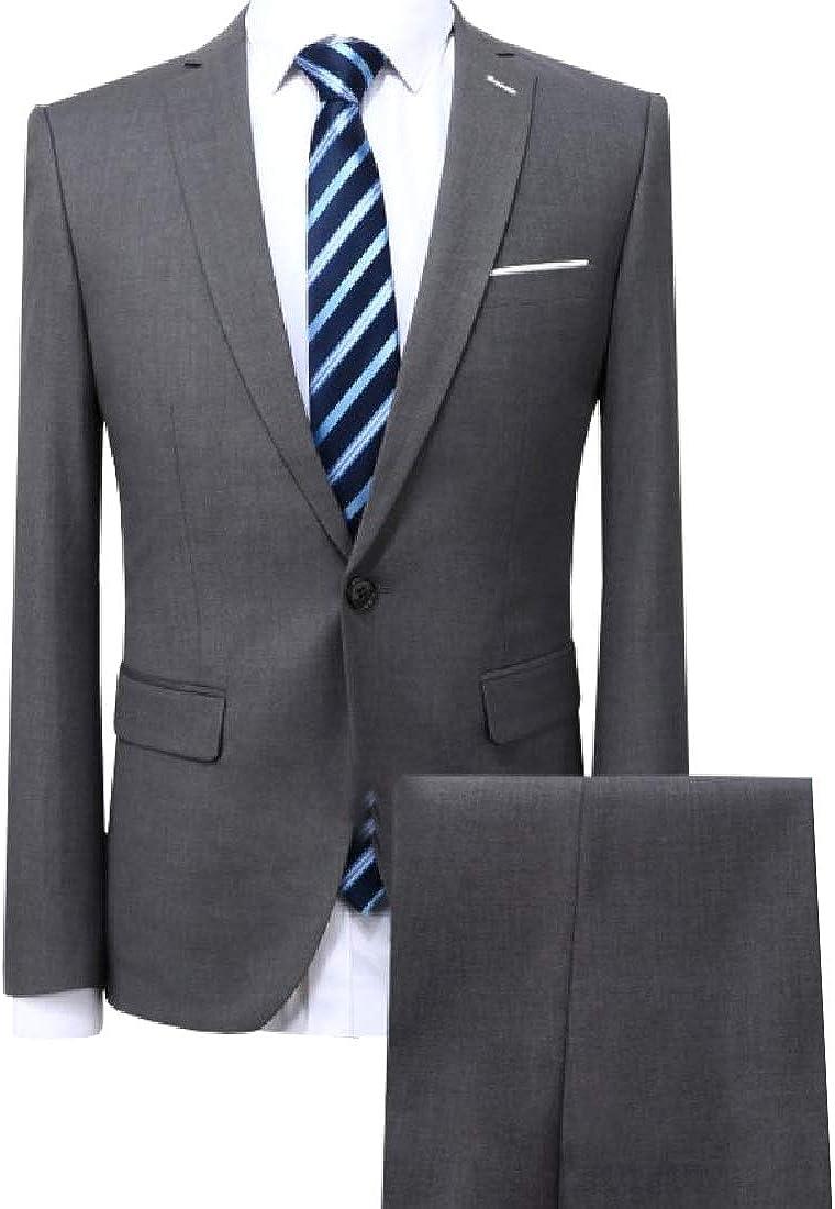 YUNY Mens One Button Gentleman Suit Coat Business Pant 2-Piece Grey S