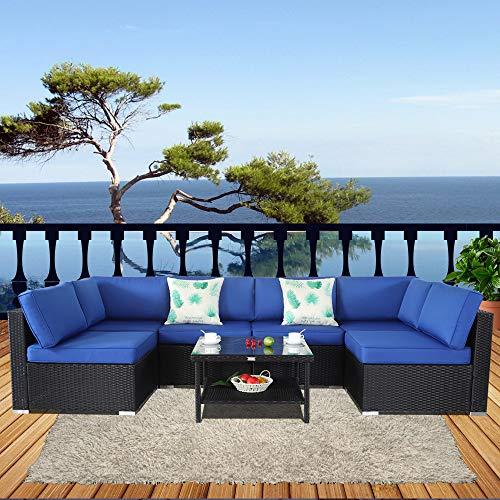 Outime Patio Furniture Black Rattan Sofa Wicker 7pcs Sectional Sofa Set Christmas Party Sofa Conversation Set Garden Patio Sofa Cushioned -Easy Assembled(Royal Blue Cushions,7 ()