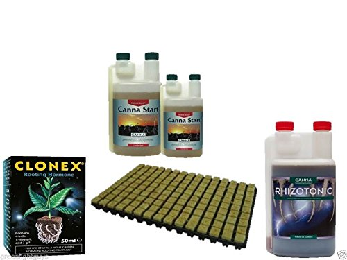 77 rockwool cubes propagation tray & clonex 50ml & canna rhizotonic 250ml & canna start 500ml GRODAN