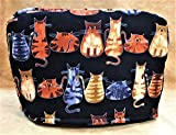 Whimsical Cats Kittens on Black Reversible 2-Slice Toaster Cover 11.5'(l) x 7.5'(h) x 5.5'(w)