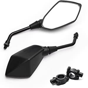 MICTUNING Universal Hawk-Eye Motorcycle Convex Rear View Mirror - with 10mm Bolt, Handle Bar Mount Clamp for Cruiser, Suzuki, Honda, Victory and More