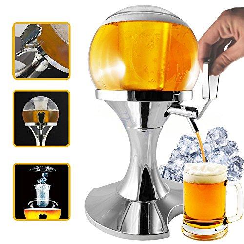 spillatore cerveza esférica con compartimento Hielo de 3.5 L, Infusión Cerveza y otras bebidas, mantiene los líquidos Freschi, dispensador y enfriador de ...