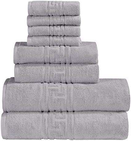 Cotton Club 100 Egyptian Cotton 8 Pcs Towel Set 700gsm 2 Bath Towels 2 Face Towels 4 Hand Towels Fine Quality Silver 8 Pcs Towel Set Kitchen Dining