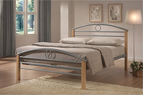 MALKO Silver Metal Bed Frame with Wooden Posts and Arch Headboard Bedframe 7005F