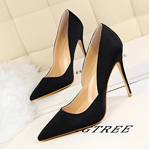 Sandals CJC High-Heeled Baotou High Heels Thin High Heels Elegant Shallow Mouth Simple Fashion Sexy Banquet Wedding Shoes Black k6gEXv00D