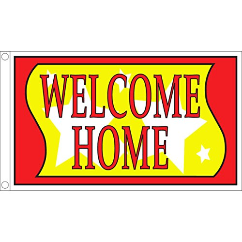 Horizontal Welcome Home Flag, Stars, 5' x 3'