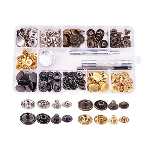 Pandahall Elite 40 Sets 0.6 inch Buttons Jeans Button Snap Fastener Press Studs and 4 Pieces Leather Craft Tool with Storage Box