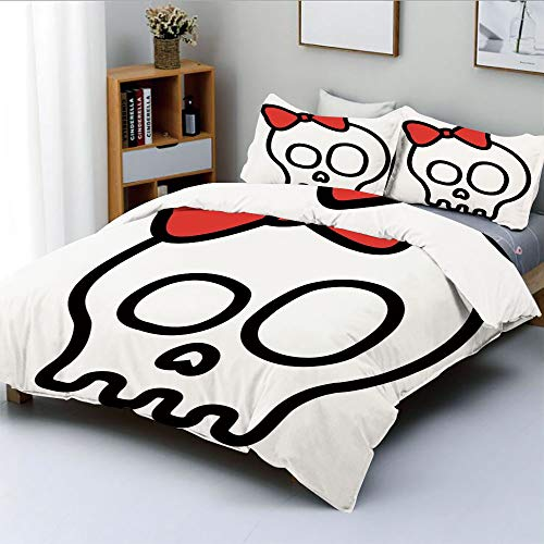 (Duplex Print Duvet Cover Set Full Size,Illustration of Baby Skull Girl with Lace and Halloween Dead Head Teen Emo ArtDecorative 3 Piece Bedding Set with 2 Pillow Sham,Red White Black,Best)