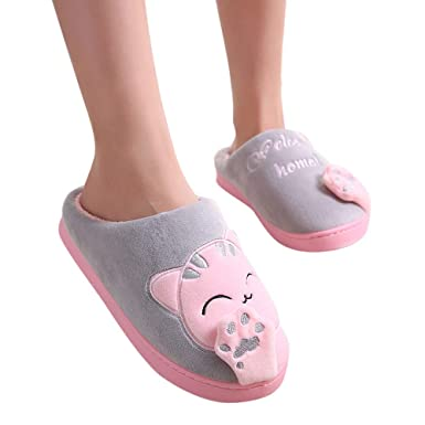 Amazon.com: callm Women Winter Home Slippers Cartoon Cat Non-slip Warm Indoors Bedroom Floor Shoe: Clothing