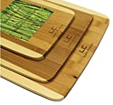 3 Piece Premium Bamboo Cutting Board Set by LC Quality Products. Stylish, Eco Friendly,, and Completely Made of Bamboo.