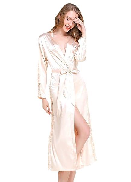 ECHERY Mujeres V-Cuello Kimono Batas de Raso camisón de Color Puro Estilo Largo con Encaje de Manga de Ajuste: Amazon.es: Ropa y accesorios