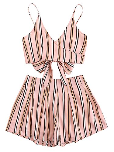 MakeMeChic Women's 2 Piece Outfit Summer Striped V Neck Crop Cami Top with Shorts Pink-1 (Women Two Piece)