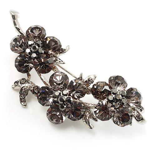 Broche florale cristal Swarovski (argent et gris foncé)