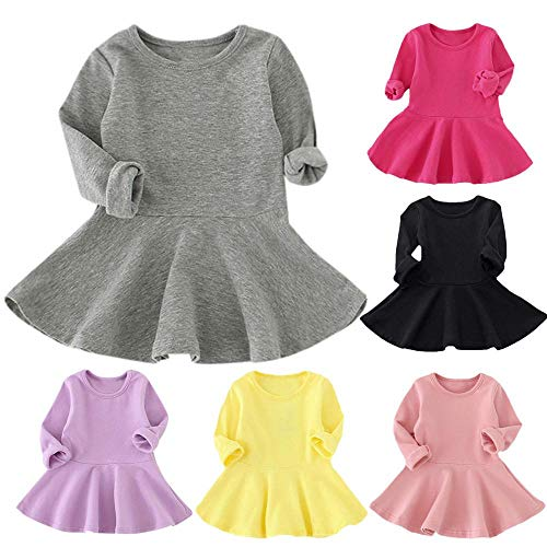 Kids Baby Girls Princess Dress Candy Color Long Sleeve Solid Casual Cotton...