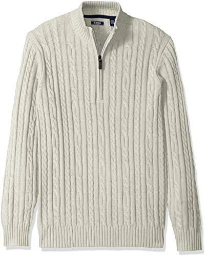IZOD Men's Premium Essentials Cable Knit 1/4 Zip Sweater, New Edifice Heather, Medium - Mens Big And Tall Cable