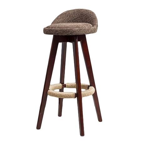 ERRU  Solid Wood Bar Chair Swivel Highchair Continental Bar Stool Height  73cm Front Desk Retro