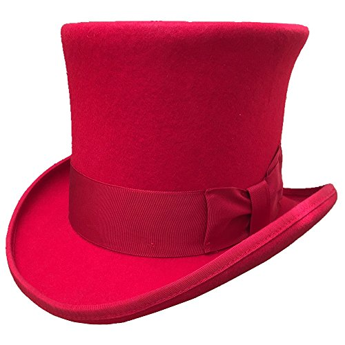 Red Wool Felt Top Hat Victorian Mad Hatter 7