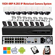 NightKing 4MP CCTV Security Motorized Auto Focus IP Camera Kit System,16ch 8MP 4K POE NVR,16Pcs 4X Optical 2.8~12mm Motorized Lens Outdoor/Indoor IP Camera,4TB HDD Pre-Installd,Free Mobile App View