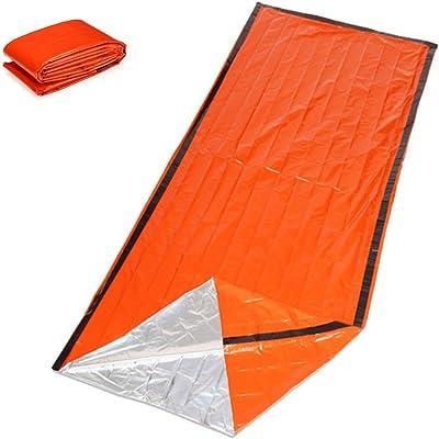 Amaoma Manta Termica Supervivencia Reutilizable Saco de Dormir de Emergencia Saco de Dormir de Supervivencia Impermeable Manta Aislamiento Térmico Manta de Emergencia Bolsa de Dormir Naranja
