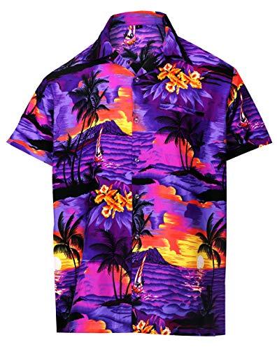 Virgin Crafts Hawaiian Shirt for Men's Short Sleeve Beach Print Casual Fashion Summer Shirt, Greenm, L | Chest: 46