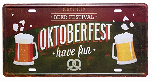 - ERLOOD Since 1810 Beer Festival Oktoberfest Have Fun Retro Vintage Auto License Plate Tin Sign Embossed Tag Size 6 X 12