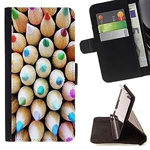 - Rainbow Pen - - Monedero PU titular de la tarjeta de cr?dito de cuero cubierta de la caja de la bolsa FOR Apple Iphone 6 Retro Candy