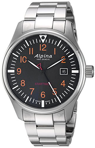 Alpina Men's Startimer Swiss-Quartz Watch with Stainless-Steel Strap, Silver, 9 (Model: AL-240N4S6B) ()
