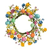 """12"""" Wildflower Easter Egg Wreath Candle Ring Fits 4"""" Pillar Candle for Indoor Spring Table Top Decor"""