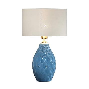 Amazon.com: Yuanlan Nordic Ceramic Table Lamp Bedroom Blue ...