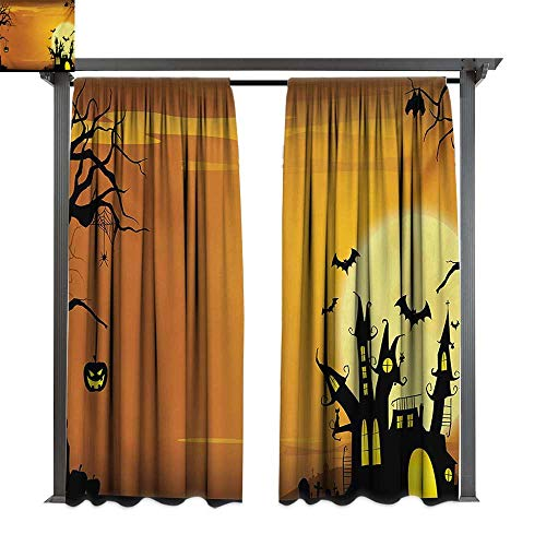 bybyhome Home Patio Outdoor Curtain Halloween Gothic Haunted House Bats Western Spooky Night Scene with Pumpkin Drawing Art W108 xL84 Suitable for Front Porch,pergola,Cabana,Covered -