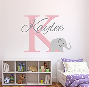 Amazoncom Personalized Elephant Name Wall Decal For Girls Baby - Nursery wall decals elephant