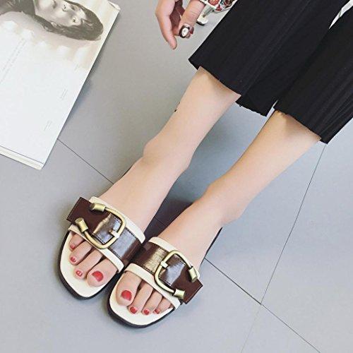 Damen Sommer Schuhe Peep-Toe Halbschuhe Sandalen Gürtelschnalle Damen Flip Flops (37, Weiß)