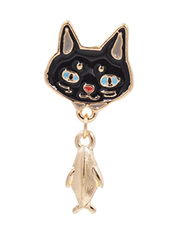 Gold Tone Little Kitty Black And White Enamel Brooch