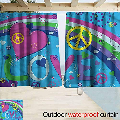 Beihai1Sun Rod Pocket Curtains Groovy Love Heart Musical Notes Draft Blocking Draperies W72x45L Inches