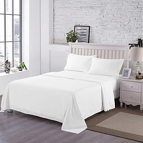 Curl Up 300 Thread Count Bed Sheets 100% Cotton Solid 4 Piece Bed Sheet Set Includes One Cotton Flatsheet One Cotton Fittedsheet and Two Cotton Standard Pillow Cases Full Size White
