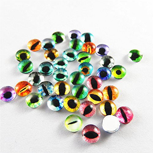 JulieWang 200PCS Vintage Mixed Style Cat Ghost Alien Evil Eyes Glass Cameo Jewelry Making Cabochons - New Styles Eyeglasses In