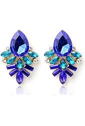 Coromose Fashion Women Lady Crystal Drop Alloy Earrings (Blue)