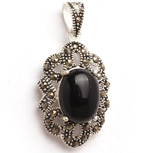 18x34mm Oval Semi Black Agate Beads Marcasite Tibetan Silver Pendant
