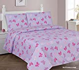 Elegant Home Butterflies Multicolor Pink Purple 3 Piece Printed Twin Size Sheet Set with Pillowcases Flat Fitted Sheet for Girls / Kids/ Teens # Butterfly Pink (Twin)